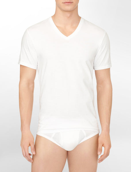 CALVIN KLEIN -  3 Pack V Neck T-shirt - White