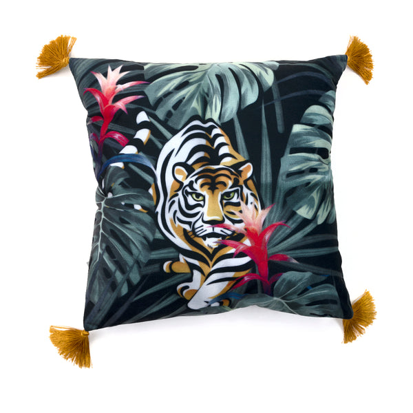 MAISON LUXE - Jungle Tiger Decorative Pillow with Tassels