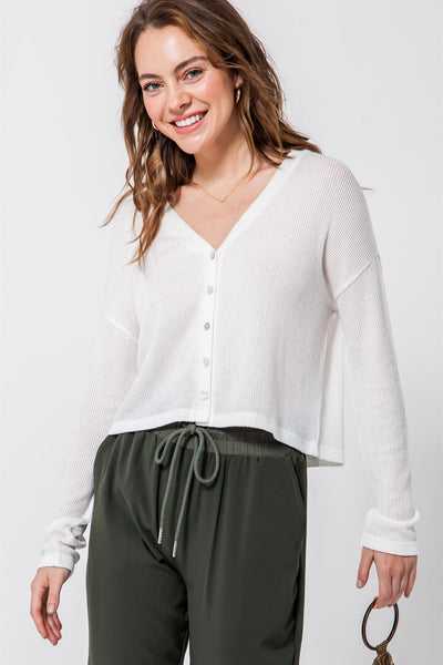 HYFVE -Button Front Long Sleeve Cropped Cardigan
