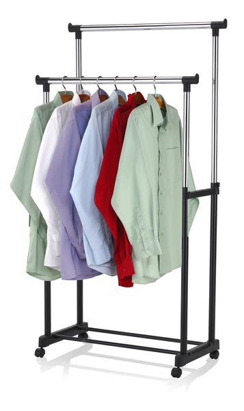 SUNBEAM - Double Hanging Garment Rack with Wheels
