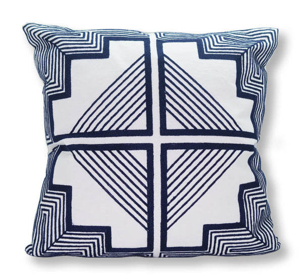 MARINER COTTON - Geometric Tile Embroidered Decorative Pillow - White & Navy
