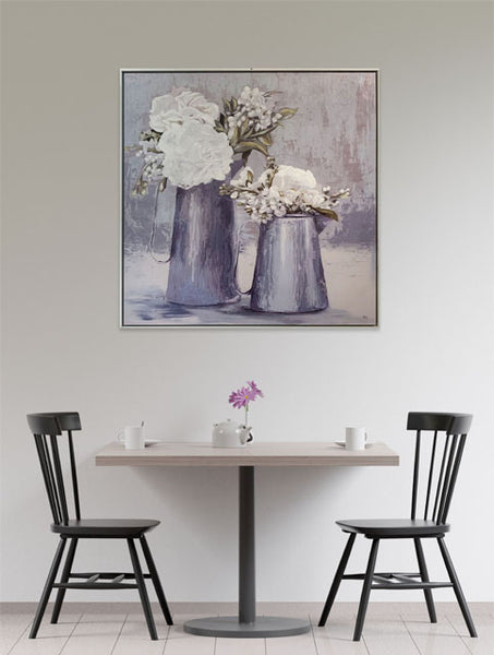FRAMED ARTWORK - White Hydrangeas in Metal Pots