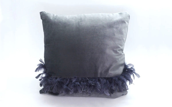 MAISON LUXE - Velvet Decorative Pillow with Feather Detail - Grey