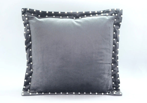 MAISON LUXE - Velvet Decorative Pillow with Pearl Beaded Flange - Silver