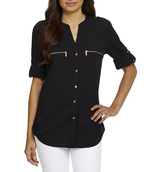 CALVIN KLEIN - Zip-Pocket Roll Tab Blouse - Assorted Colours