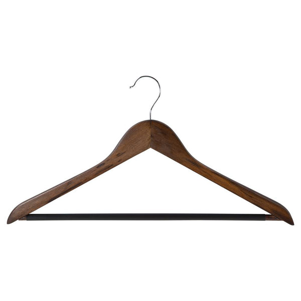 STORAGE ESSENTIALS -  Wood Pant Hanger with Bar - 5 Piece Set - Mahogany