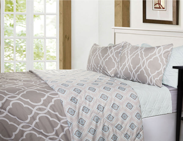 EDEN & WEST -  6 Piece Comforter & Coverlet Set - Grey - Queen