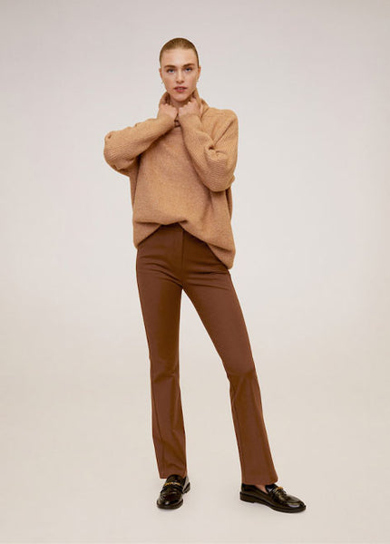 MANGO - Flared Cotton Pants - (Black, Brown)