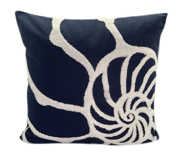 MARINER COTTON - Shell Embroidered Decorative Pillow - Navy & White