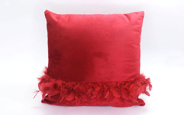 MAISON LUXE - Velvet Decorative Pillow with Feather Detail