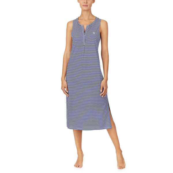 RALPH LAUREN - Striped Cotton Long Gown - Navy & White