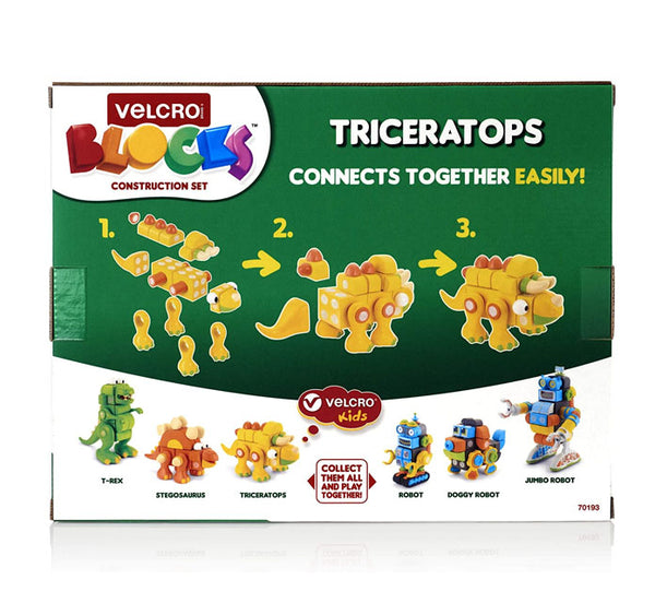 VELCRO BLOCKS - Triceratops Foam Blocks Construction Kit - (3+Yrs.)