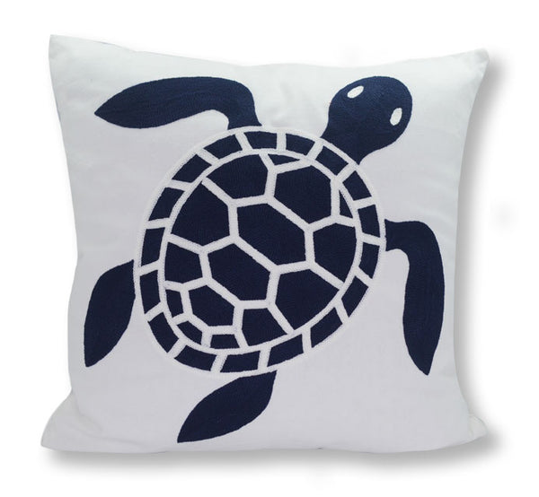 MARINER COTTON - Turtle Embroidered Decorative Pillow - White & Navy
