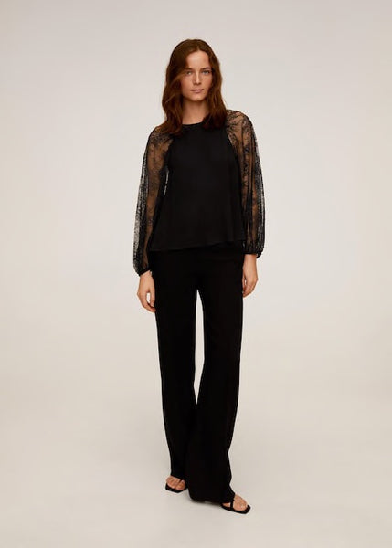 MANGO - Lace Sleeves Top - Black