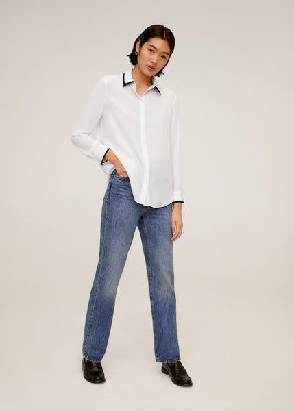 MANGO - Contrasting Finish Blouse - Off White