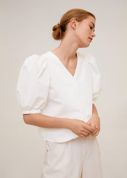 MANGO - Puffed Sleeves Blouse - Off White