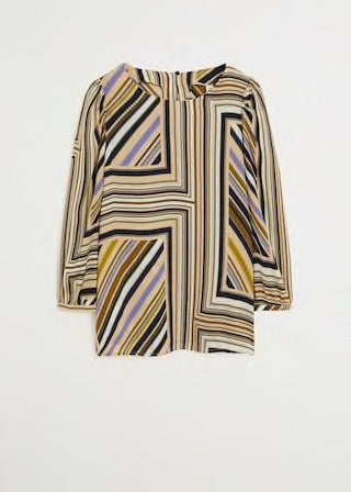 MANGO - Puffed Sleeves Striped Shirt - Ecru