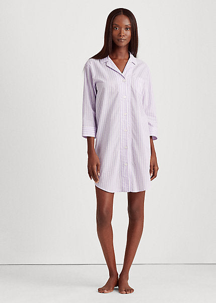 RALPH LAUREN - Striped Cotton Sleepshirt - Lilac & White