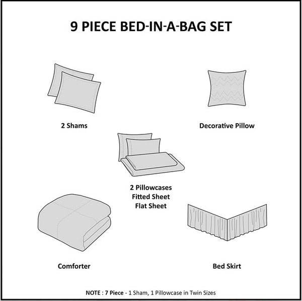 MADISON PARK - Serenity 9 Piece Bed In A Bag