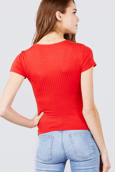 ACTIVE BASIC - Short Sleeve Round Neck Pointelle Top - Assorted Colors