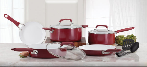 WEAREVER -  10-Piece Pure Living Nonstick Ceramic Coating, Scratch-Resistant, Oven Safe Cookware Set - Red