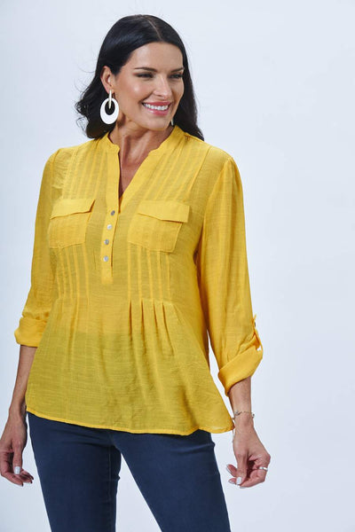 ZAC AND RACHEL - Roll Sleeve Henley Blouse - Assorted Colours