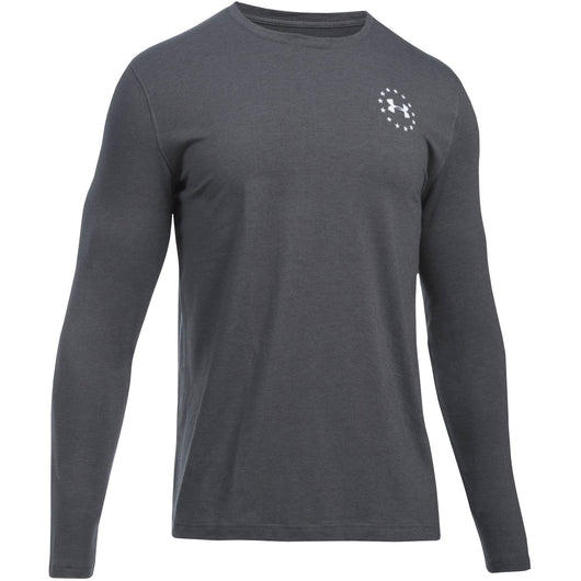 UNDER ARMOUR M FREEDOM TECH TACTICAL LONG SLEEVE SHIRT CARBON HEATHER (090) / WHITE