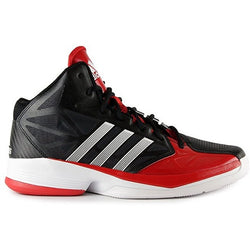 ADIDAS SHAKE 'EM BASKETBALL SHOES BLACK/RUNNING WHITE/LIGHT SCARLET