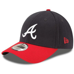 NEW ERA ATLANTA BRAVES 39THIRTY MLB TEAM CLASSIC FLEX FIT BASEBALL CAP NAVY/RED