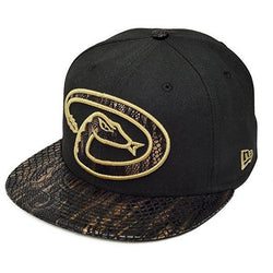 NEW ERA ARIZONA DIAMONDBACKS 59FIFTY MLB FITTED CAP BLACK/GOLD SNAKE VISOR