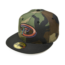NEW ERA ARIZONA DIAMONDBACKS 59FIFTY MLB 1998 INAUGURAL SEASON PATCH FITTED CAP WOODLAND CAMO / GREY BOTTOM