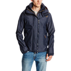 SUPERDRY M HOODED TECHNICAL POP-ZIP WINDCHEATER JACKET NAVY MARL/FLURO ORANGE
