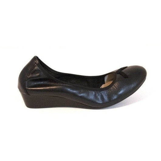 HUSH PUPPIES W CANDID PUMP BLACK LEATHER BALLET WEDGE