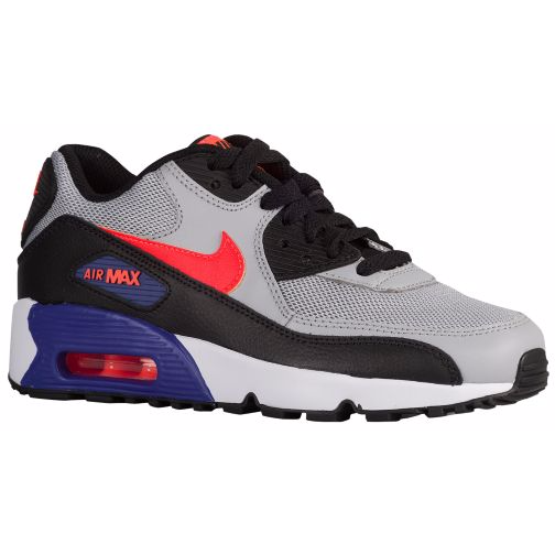 NIKE AIR MAX 90 MESH (BIG KID) WOLF GREY/DARK PURPLE DUST/WHITE/TOTAL CRIMSON