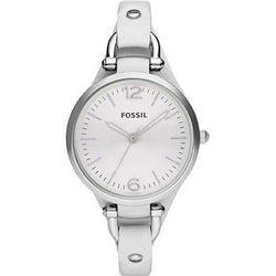 FOSSIL GEORGIA WHITE DIAL WHITE LEATHER WATCH