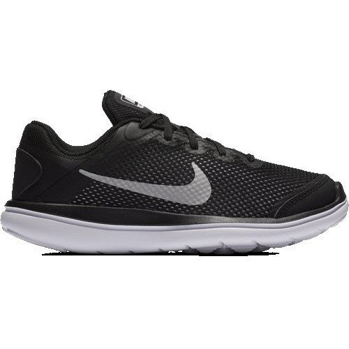 NIKE FLEX 2016 RN (LITTLE KID) BLACK/METALLIC SILVER/WHITE