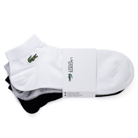 LACOSTE M SPORT THREE-PACK OF LOW-CUT SOCKS IN SOLID JERSEY WHITE/GREY/BLACK