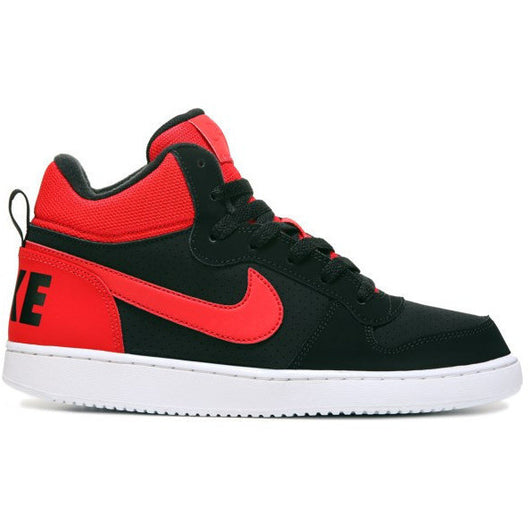 NIKE COURT BOROUGH MID (BIG KID) BLACK/ACTION RED
