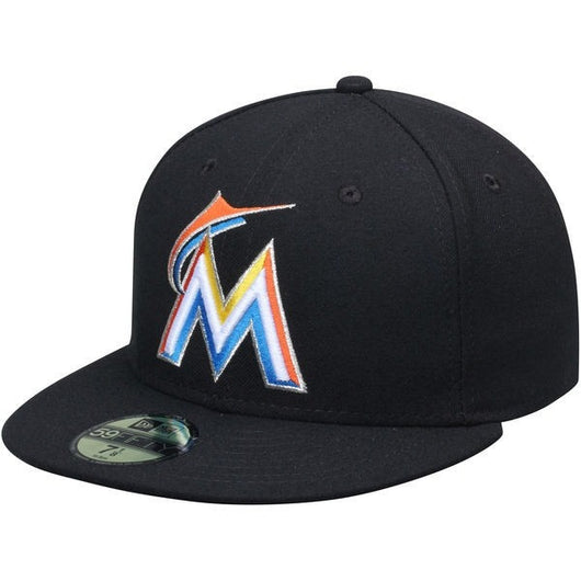 NEW ERA MIAMI MARLINS 59FIFTY MLB HOME AC ON FIELD FITTED CAP