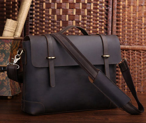 Leather 15.6 inch Laptop Messenger Bag
