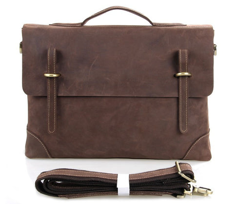 Dark Brown Oil Wax Leather Messenger Back