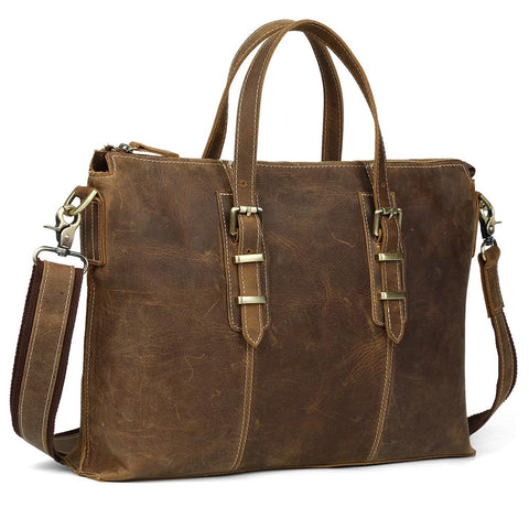 Vintage Leather Shoulder Briefcase