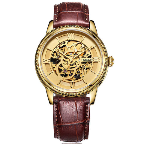 ROSDN Gold Skeleton Watch
