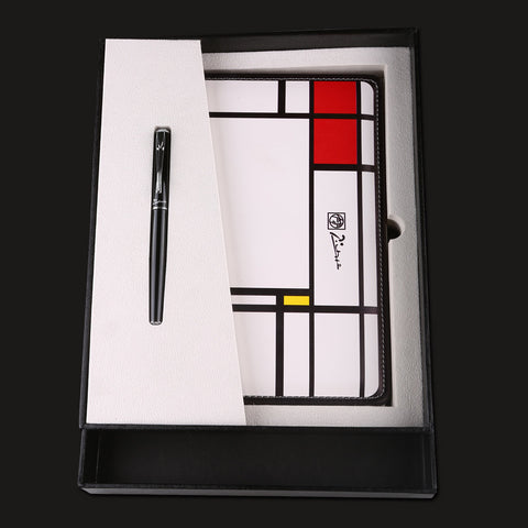Pimio Black 0.5mm Iridium Fountain Pen + Notebook Gift Set