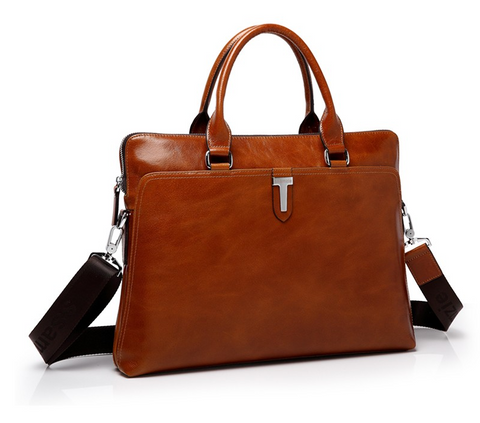 SSAMZIE Men's Leather Briefcase