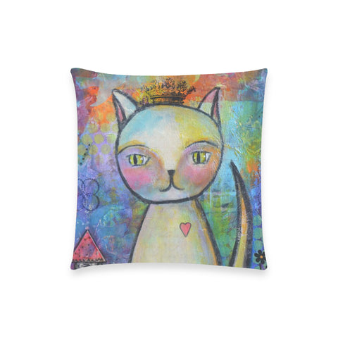 "Kitty Queen - Custom  Pillow Case 18""x18"" (one side) No Zipper"