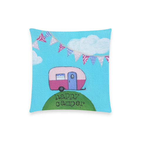 "Happy Camper - Custom  Pillow Case 18""x18"" (one side) No Zipper"