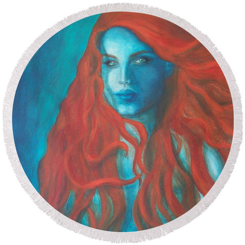 Round Beach Towel - Blue Mermaid