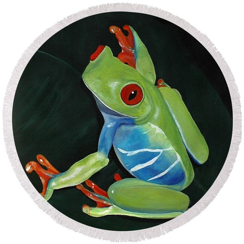 Round Beach Towel - Frog Portrait
