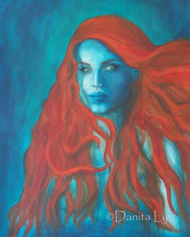 Blue Mermaid-Art Print by Danita Lyn